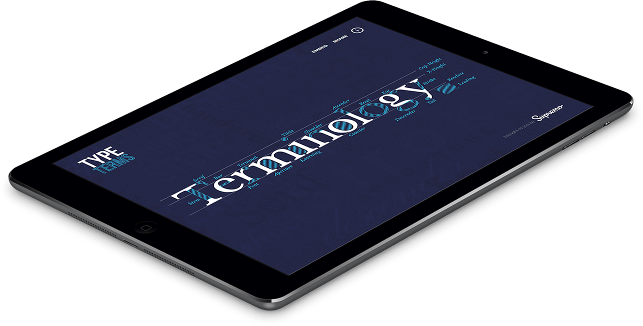 Type Terms Main Menu iPad Mockup