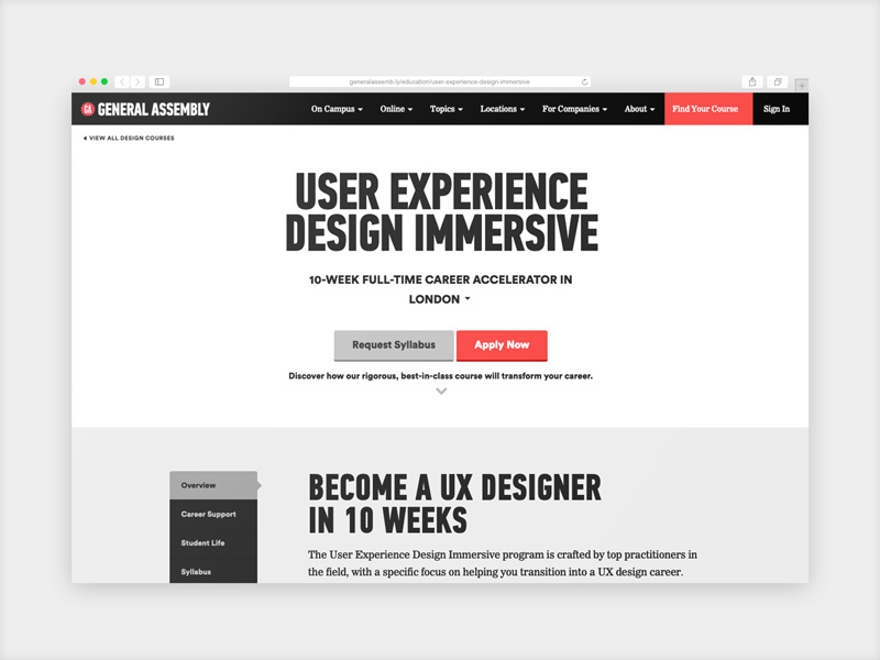 General Assembly User Experience Design courses