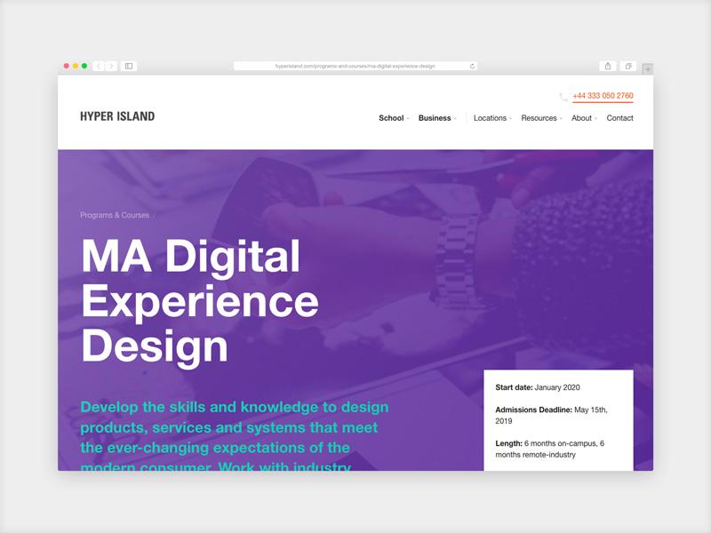 Hyper Island MA in Digital Experience Design course