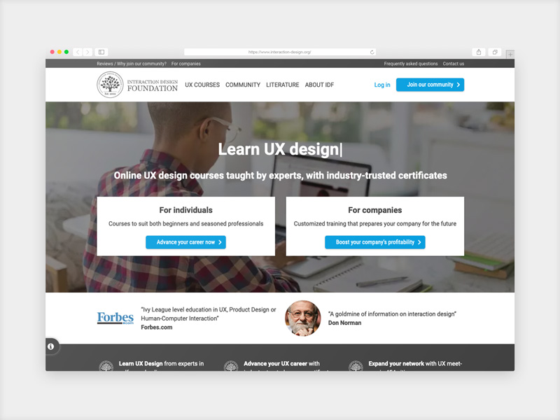 Interaction Design Foundation User Experience Design courses