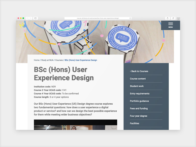 Norwich University User Experience Design course
