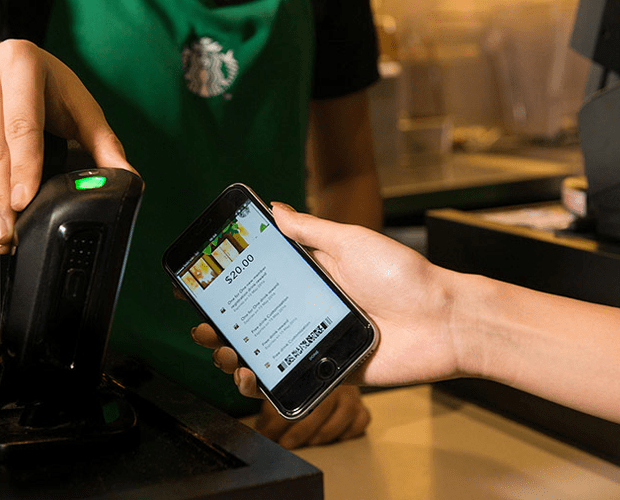 Starbucks app being scanned at till