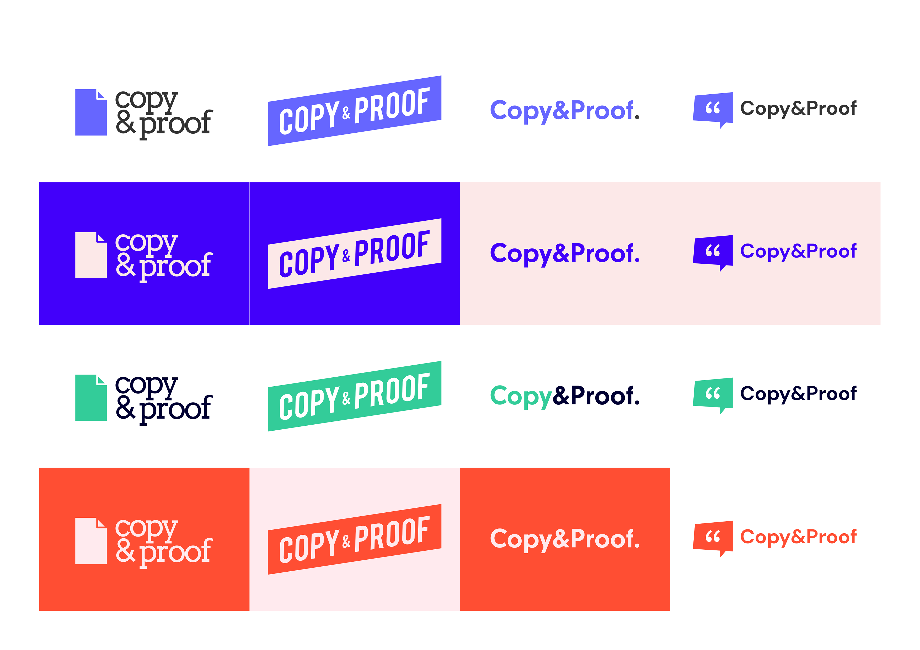 An updated version of the Copy and Proof logo with colours and new fonts
