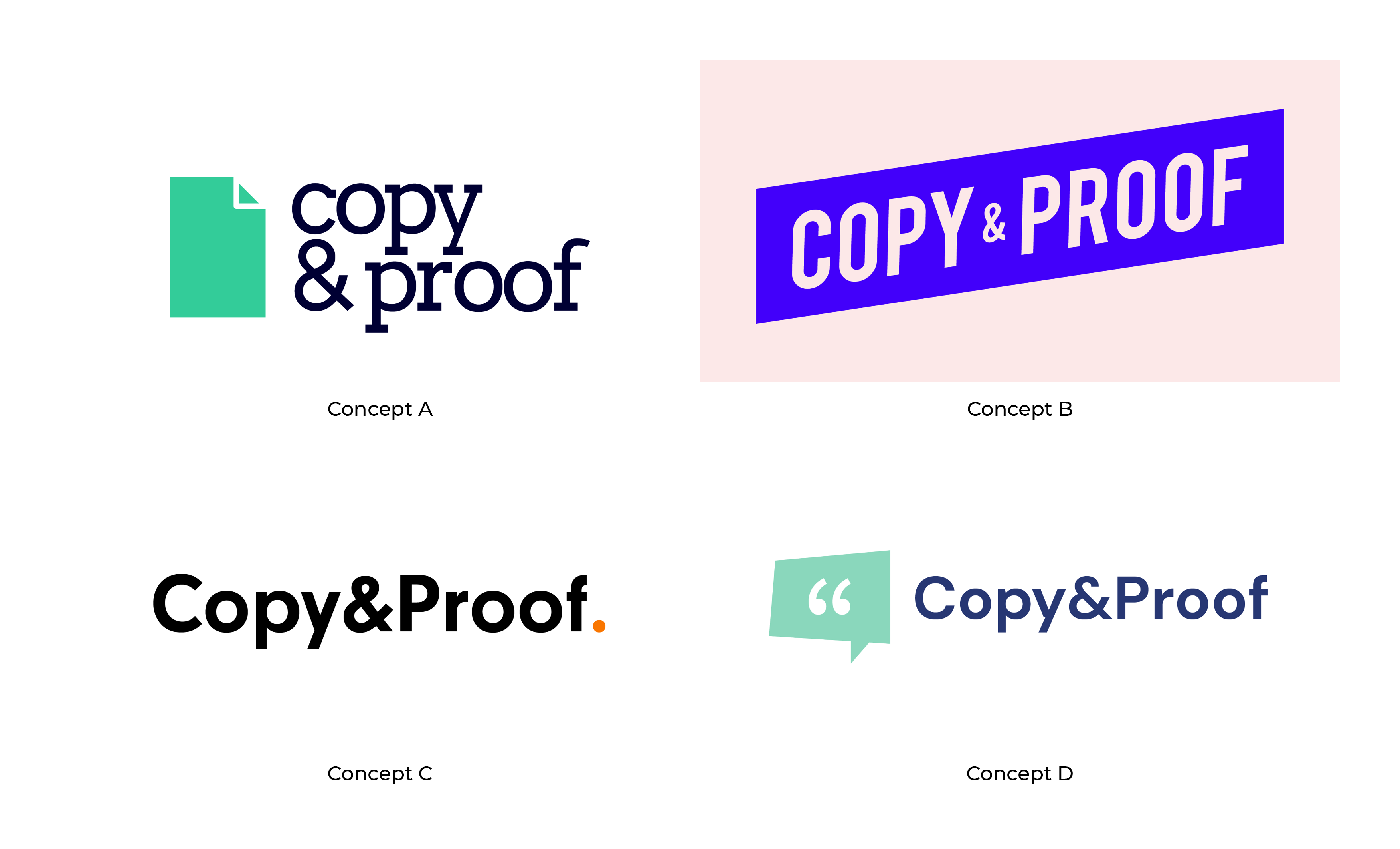 Four different designs of the Copy and Proof logo