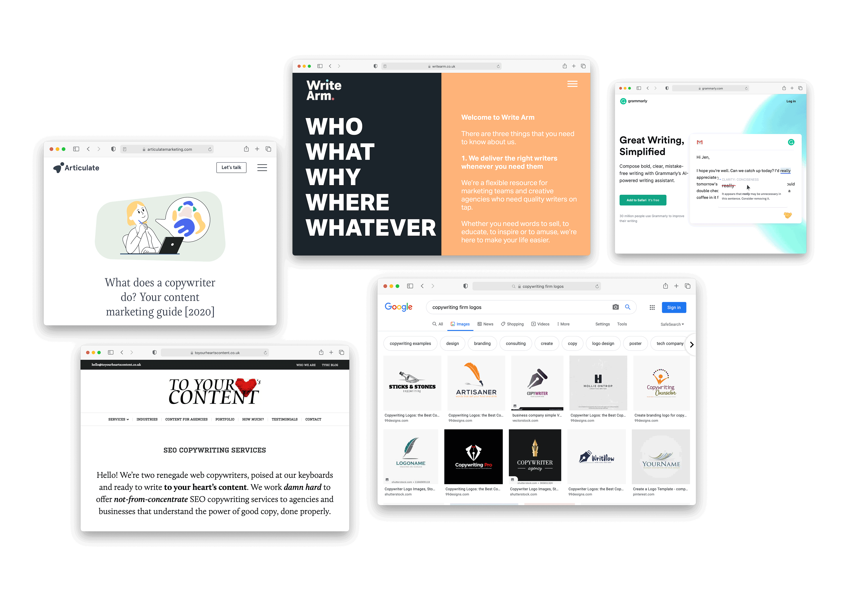 Screenshots of online research about client Copy and Proof