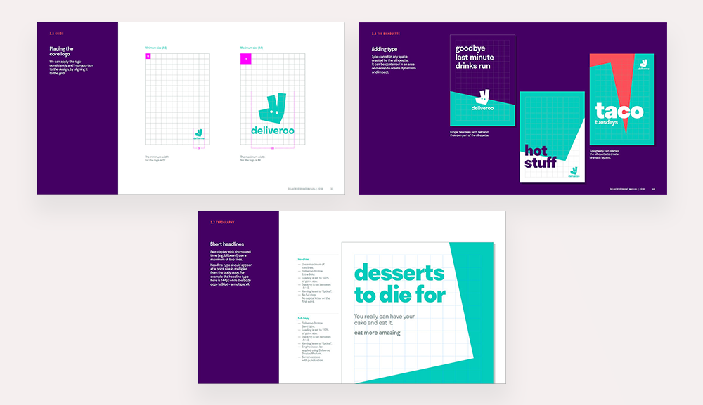 Pictures showing how Deliveroo place their text and images for content