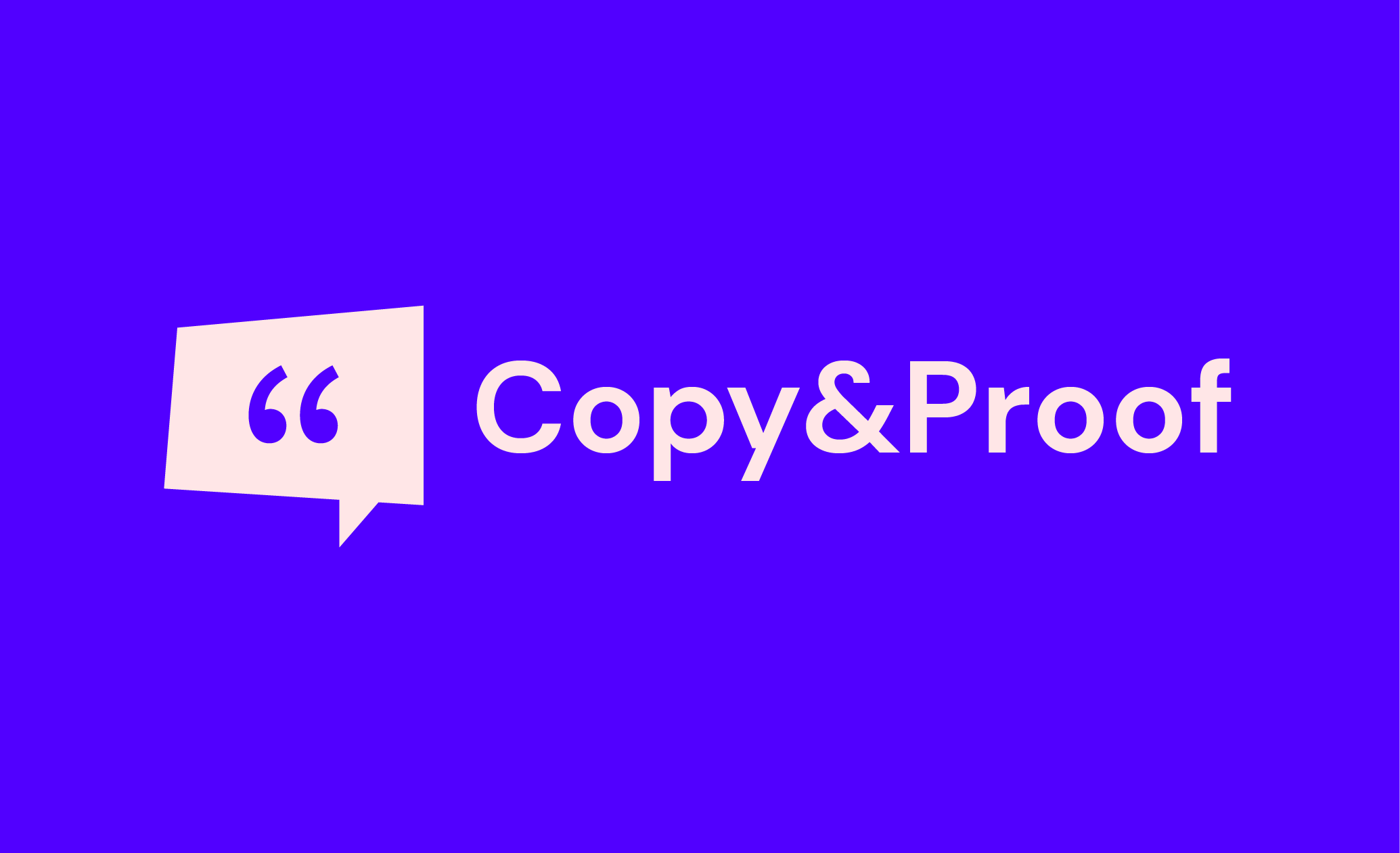 Final version of the Copy and Proof logo with a blue background and white text