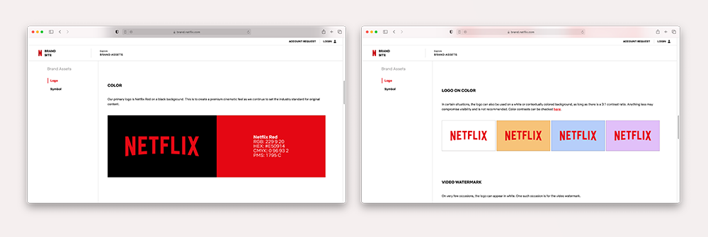 Pictures from the Netflix website showing different colour variations of their logo
