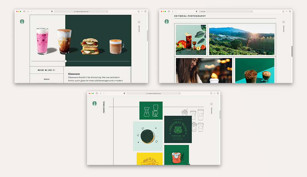 Different styles of photographs and drawings of the Starbucks brand