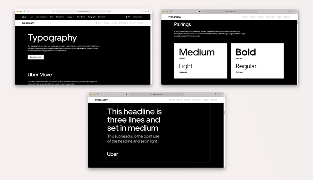 Pictures from the Uber website showing different types of typography used for the brand