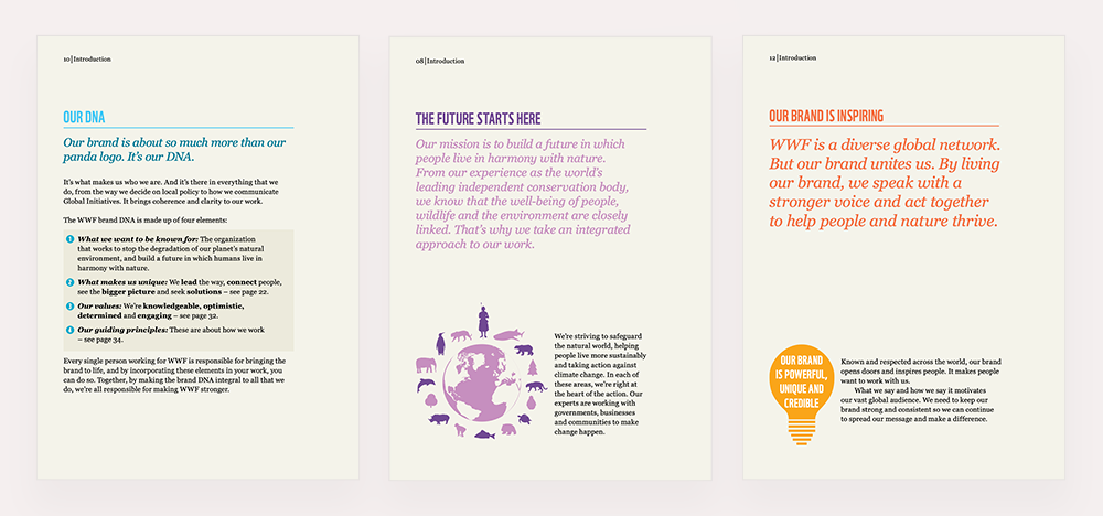 Three web pages showing the WWF's brand guide which explains their values and mission