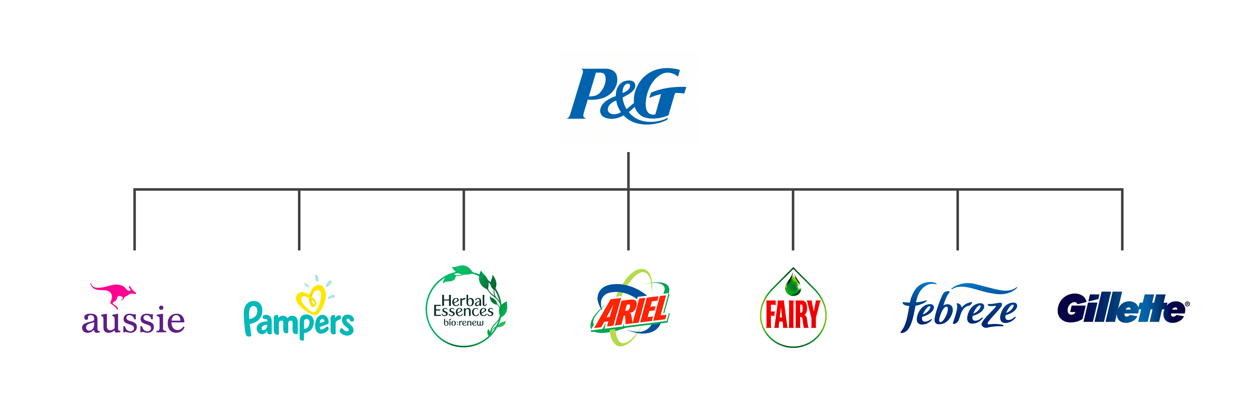 A picture showing the brands owned by Procter & Gamble