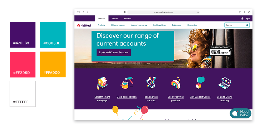 A picture showing Natwest's website and all the colour variations they use