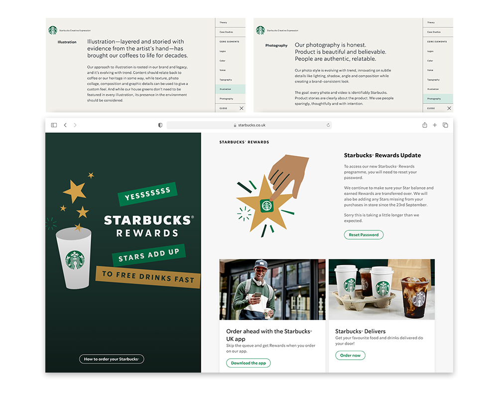 A picture showing Starbuck's website