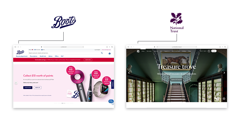 A picture showing two website homepages for Boots and the National Trust and their brand logos