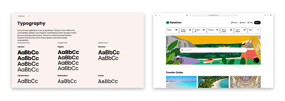 A picture showing Trip Advisor's brand guidelines demonstrating what fonts should be used
