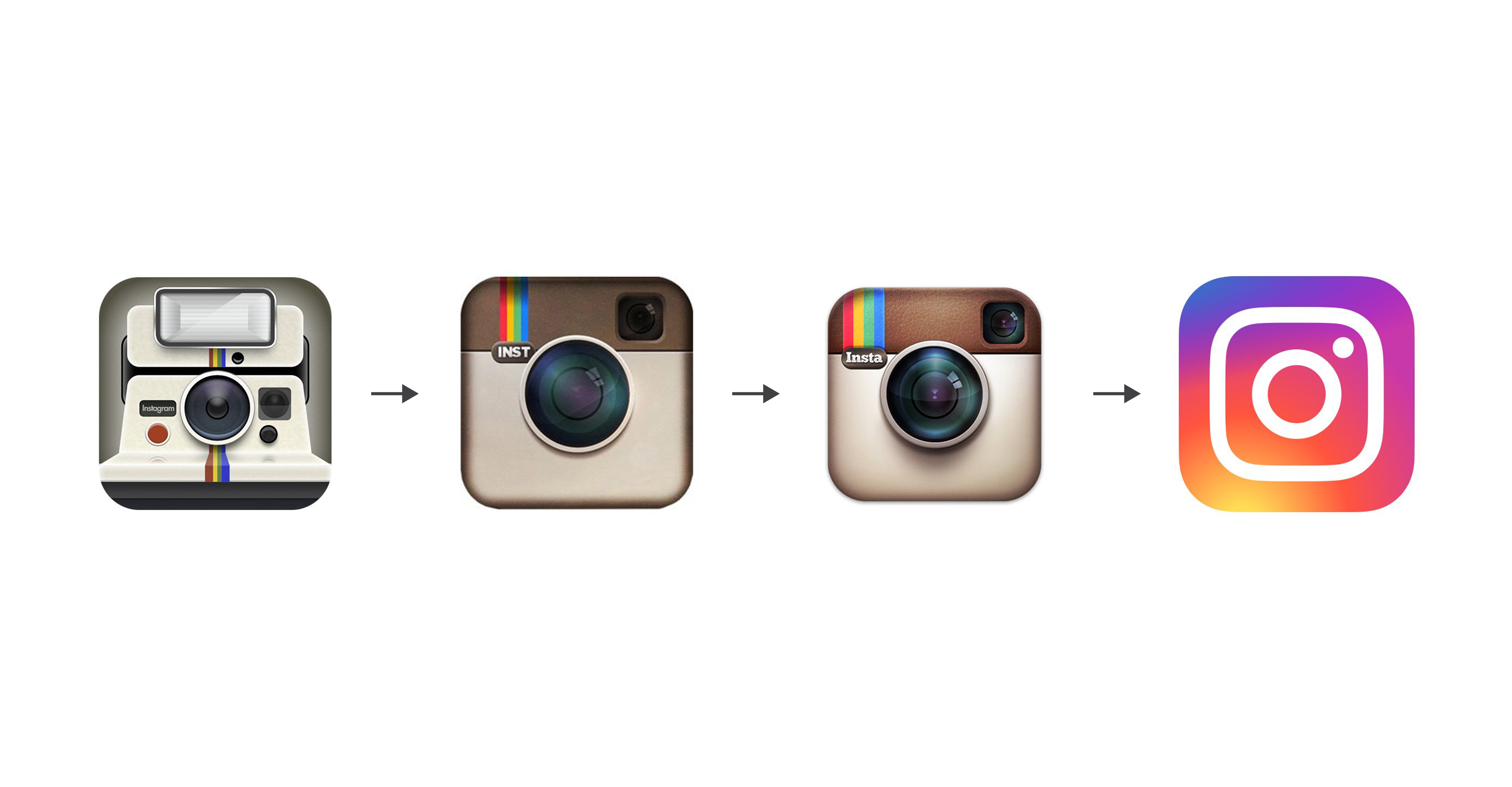 A picture showing the four changes to the instagram logo